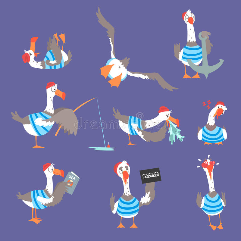 Karikaturseemöwen mit verschiedenen Haltungen und Gefühlen stellten, nette komische Vogelcharaktere ein stock abbildung