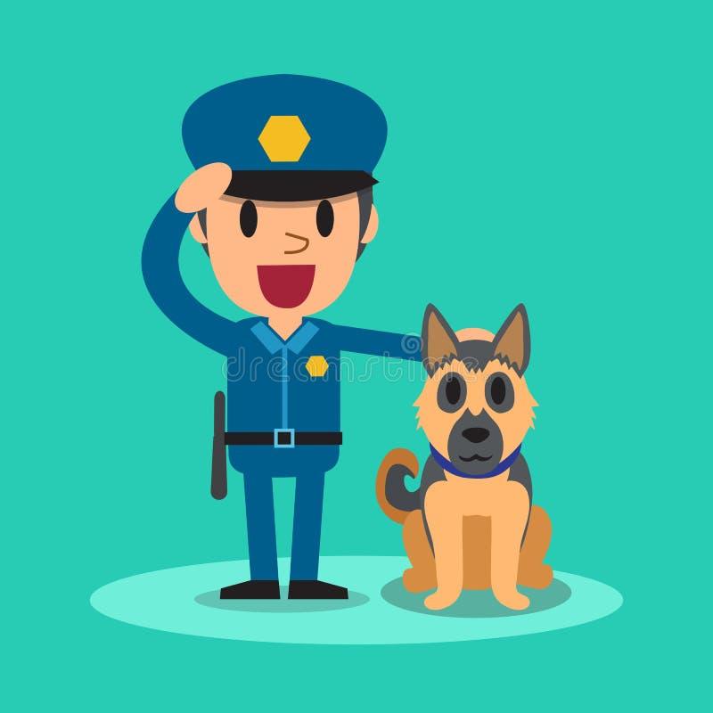 Karikatursicherheitsbeamtepolizist mit Schutzhund lizenzfreie abbildung