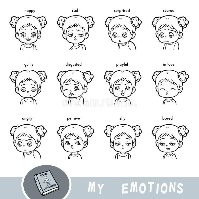 Karikatursichtwörterbuch für Kinder Die menschlichen Gefühle lizenzfreie abbildung