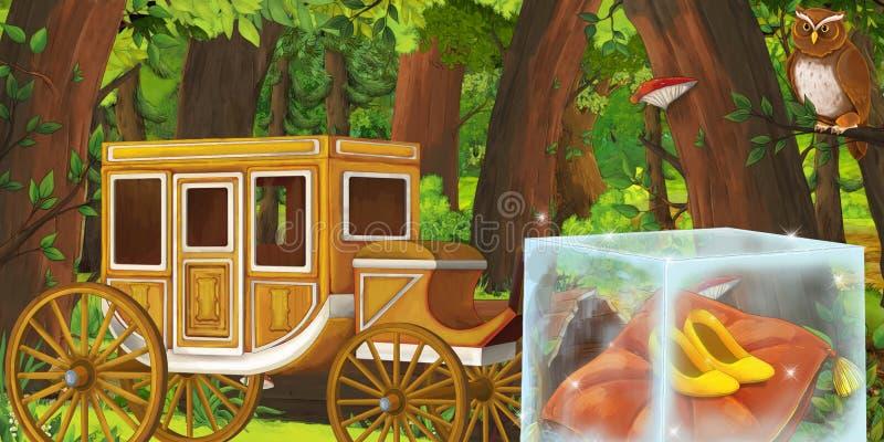 Karikatursommerszene mit tiefer Wald- und Vogeleule und hölzernem Kampfwagen - niemand auf Szene vektor abbildung