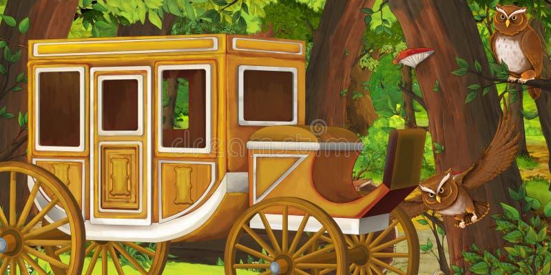 Karikatursommerszene mit tiefer Wald- und Vogeleule und hölzernem Kampfwagen - niemand auf Szene lizenzfreie abbildung