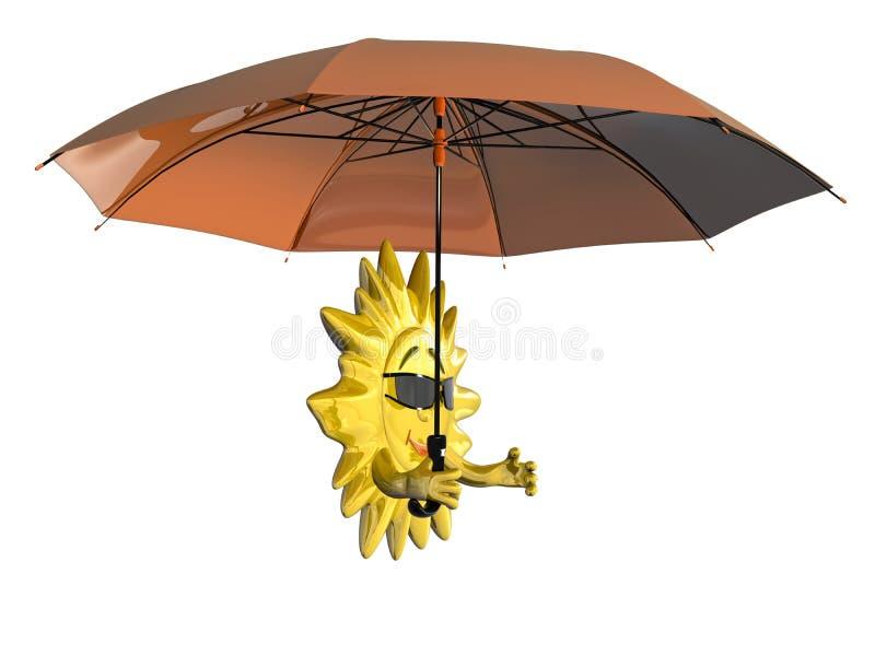 Karikatursonne mit Regenschirm lizenzfreie abbildung