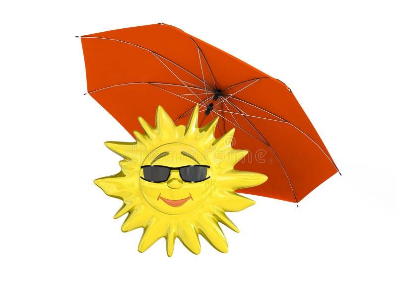 Karikatursonne mit Regenschirm stock abbildung