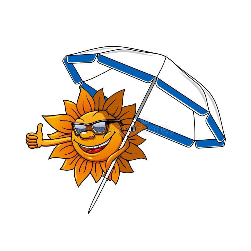 Karikatursonnencharakter mit Regenschirm lizenzfreie abbildung