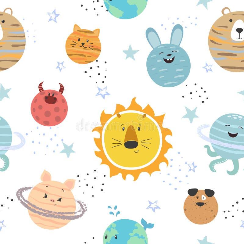 Karikatursonnensystemmuster Raumvektorhintergrund mit netten Planeten stock abbildung