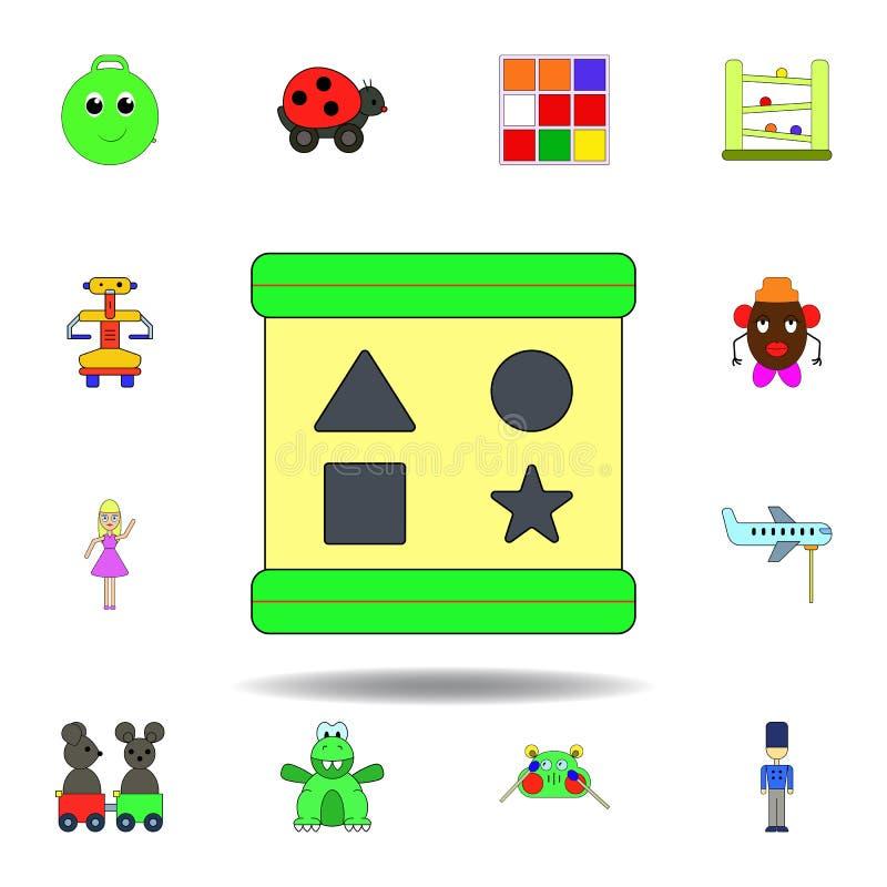 Karikatursortierboxbl?cke spielen farbige Ikone stellen Sie von den Kinderspielwaren-Illustrationsikonen ein Zeichen, Symbole kön stock abbildung