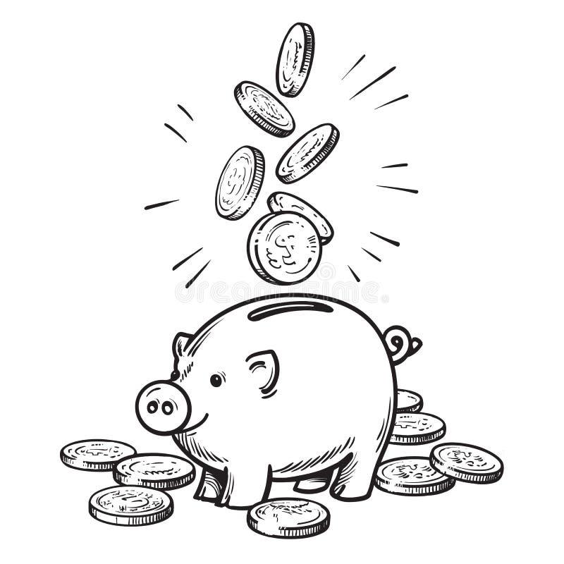 Karikatursparschwein mit fallenden Münzen Schwarzweiss-Skizze vektor abbildung