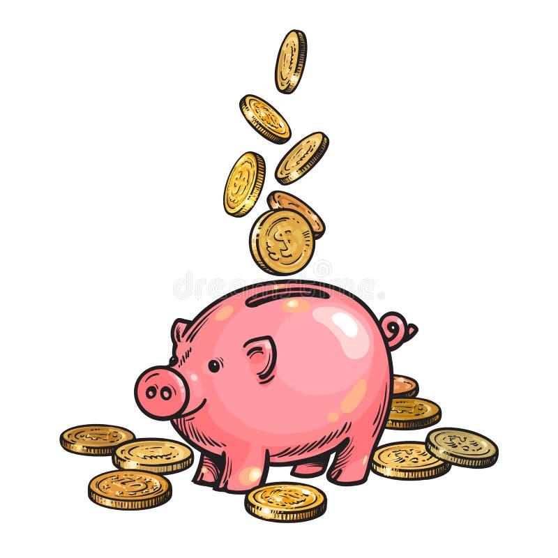 Karikatursparschwein mit fallenden Münzen Vektor vektor abbildung