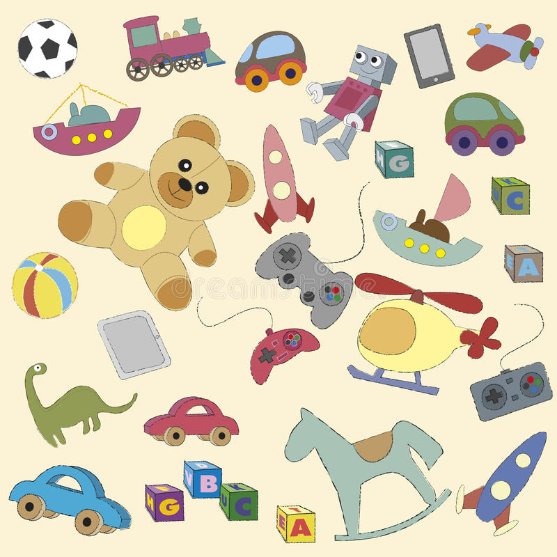Karikaturspielwaren für Kinder stock abbildung