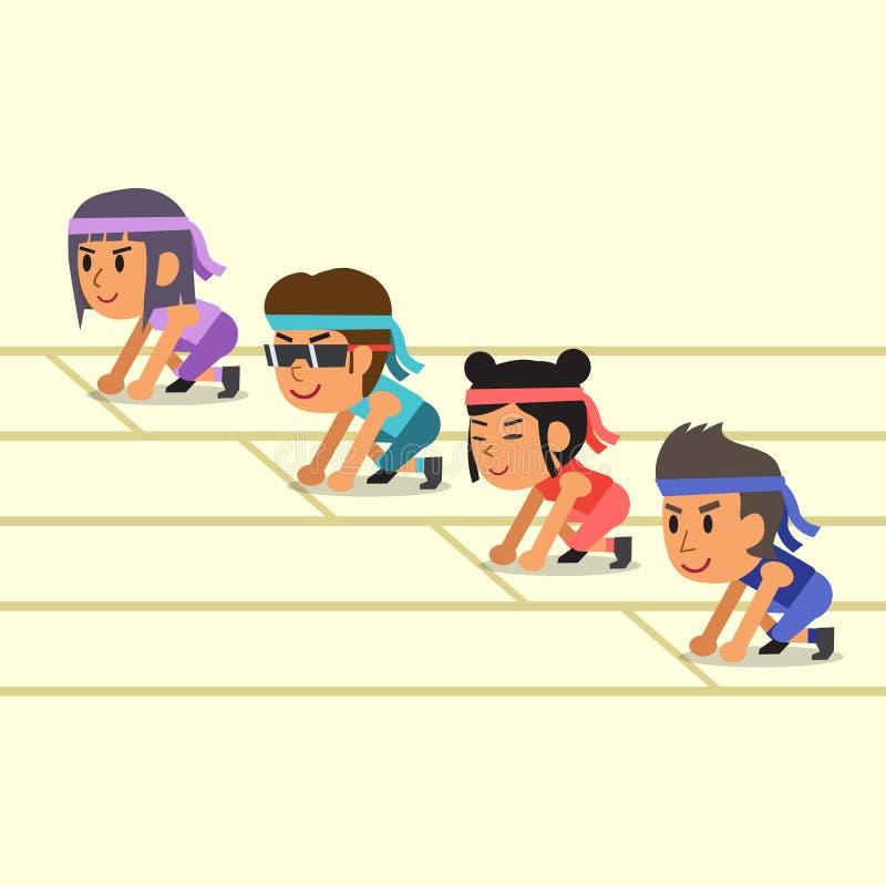 Karikatursportleute bereit zu laufen stock abbildung