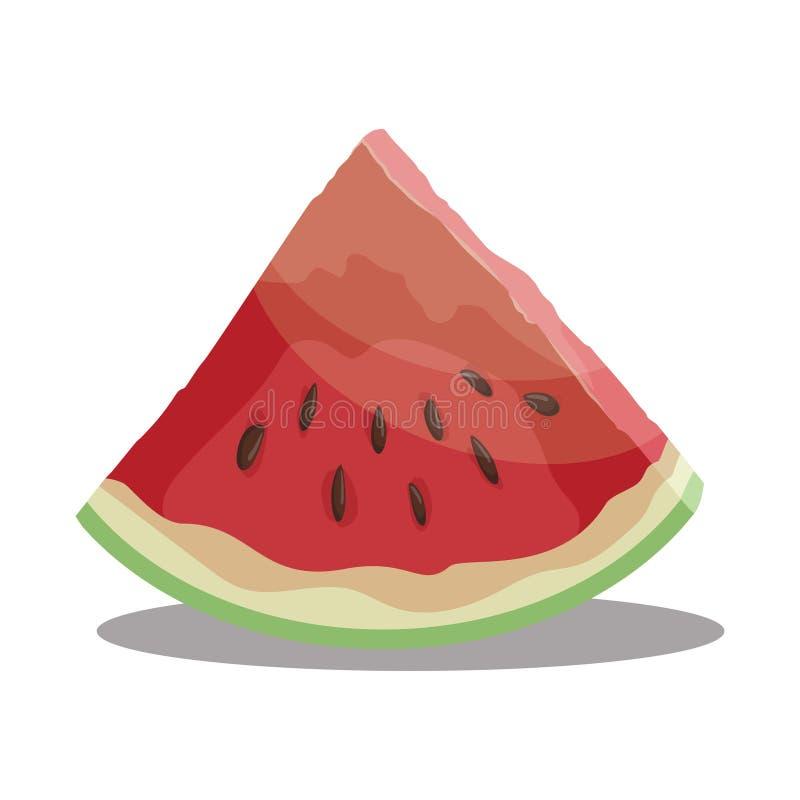 Karikaturstück der Wassermelone Scheibe der Wassermelone Süße und saftige Frucht Frische Sommervitamine Illustration für stock abbildung