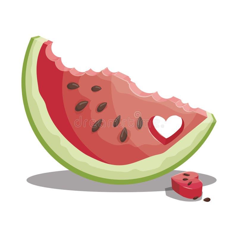 Karikaturstück der Wassermelone Scheibe der Wassermelone Süße und saftige Frucht Frische Sommervitamine Illustration für lizenzfreie abbildung