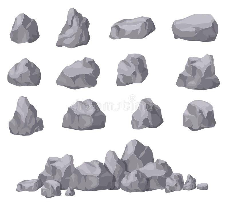 Karikatursteine Isometrischer Satz des Felsensteins Granitflusssteine, natürliche Bausteinformen Dekoration lokalisierter Vektor  lizenzfreie abbildung