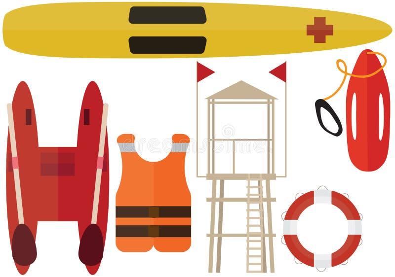 Karikaturstrandretterfarbsatzsommerbootsstations-Hilfsleibwächter stock abbildung