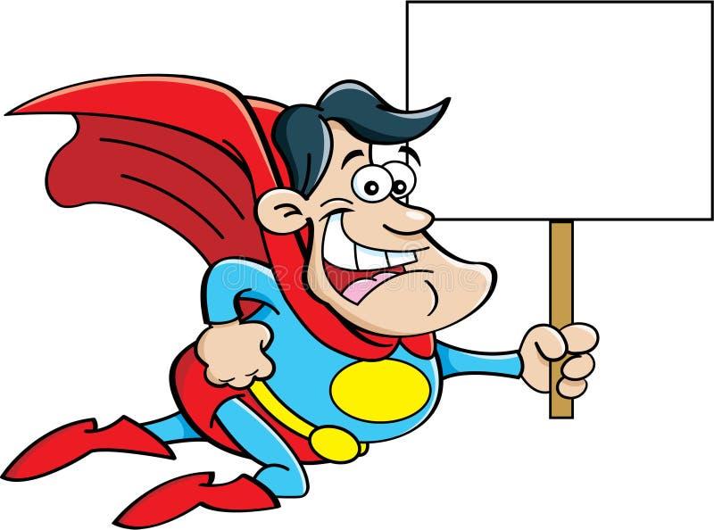 Karikatursuperheld, der ein Zeichen hält. vektor abbildung