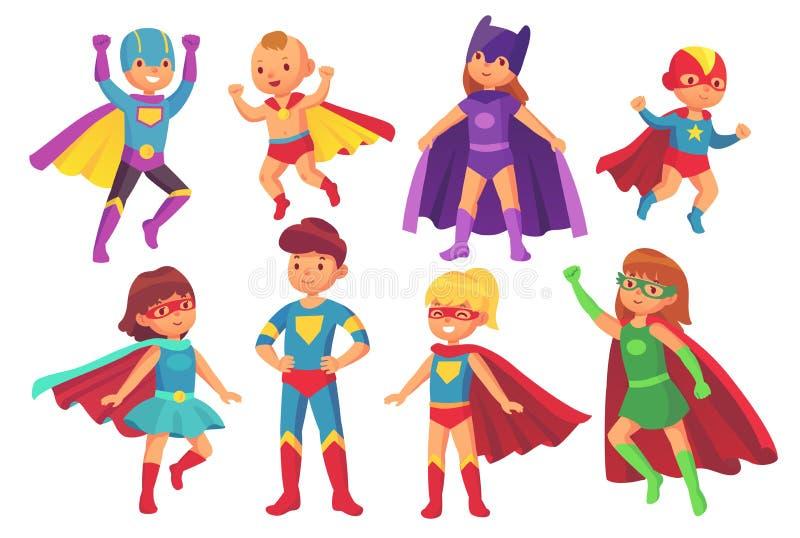 Karikatursuperheld scherzt Charaktere Frohes Kind, das Superheldkostüm mit Maske und Mantel trägt Kindersuperhelden lizenzfreie abbildung