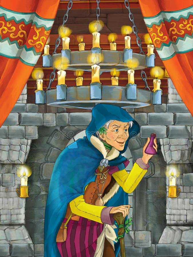 Karikaturszene des mittelalterlichen Innenraums - innerhalb der alten Hexe, die denkend erhält lizenzfreie abbildung