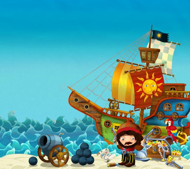 Karikaturszene des Strandes nahe dem Meer oder dem Ozean - Piratenkapitän auf dem Ufer mit Kanone und Schatztruhe - Piratenschiff vektor abbildung