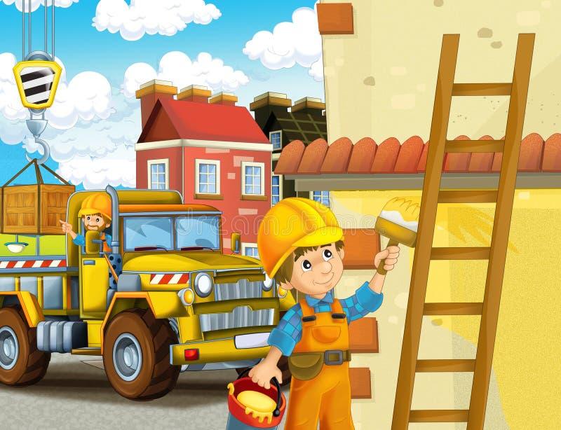 Karikaturszene mit Arbeitskräften auf Baustelle - Erbauer, die verschiedene Sachen tun stock abbildung