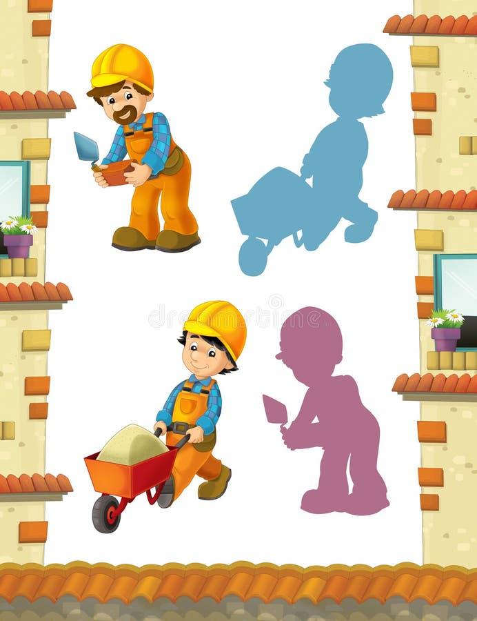 Karikaturszene mit den Bauarbeitern, die einige Arbeiten erledigen stock abbildung
