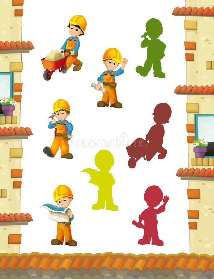 Karikaturszene mit den Bauarbeitern, die einige Arbeiten erledigen vektor abbildung