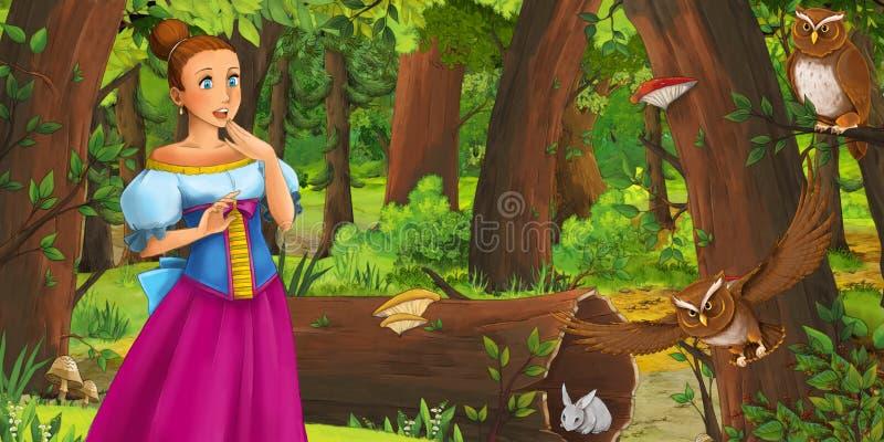 Karikaturszene mit glücklicher Prinzessin des jungen Mädchens im Wald Paare des Eulenfliegens antreffend stock abbildung