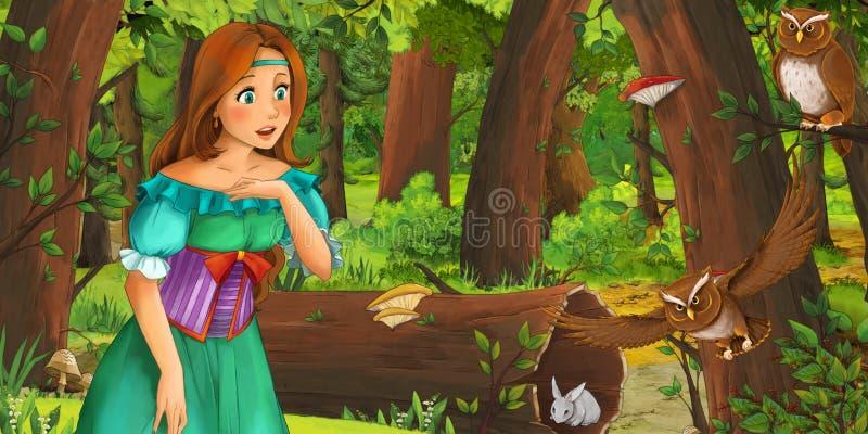 Karikaturszene mit glücklicher Prinzessin des jungen Mädchens im Wald Paare des Eulenfliegens antreffend lizenzfreie abbildung