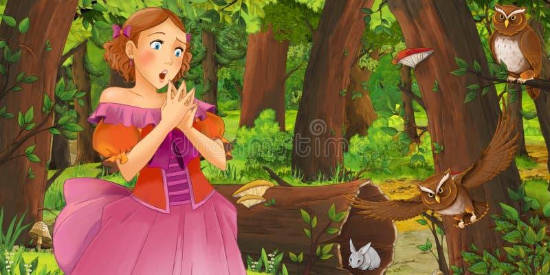 Karikaturszene mit glücklicher Prinzessin des jungen Mädchens im Wald Paare des Eulenfliegens antreffend vektor abbildung