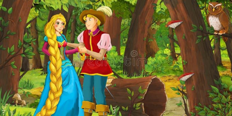Karikaturszene mit glücklicher Prinzessin des jungen Mädchens und Jungenprinzen im Wald Paare des Eulenfliegens antreffend vektor abbildung