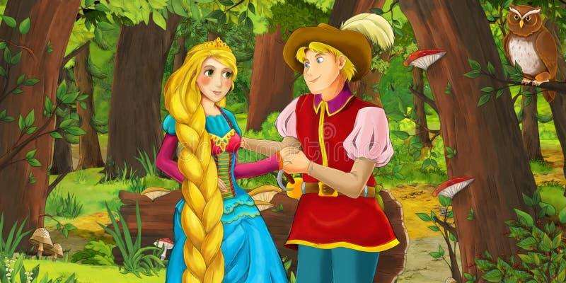 Karikaturszene mit glücklicher Prinzessin des jungen Mädchens und Jungenprinzen im Wald Paare des Eulenfliegens antreffend stock abbildung