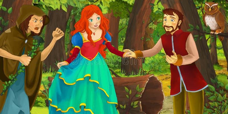 Karikaturszene mit glücklicher Prinzessin des jungen Mädchens und Jungenprinzen im Wald Paare des Eulenfliegens antreffend lizenzfreie abbildung