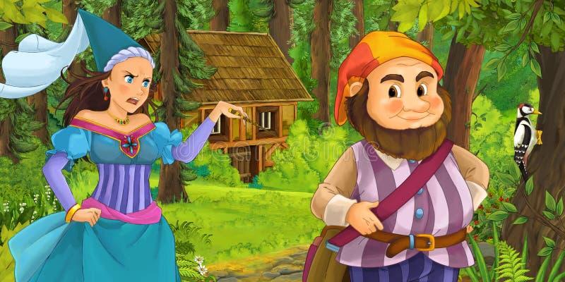 Karikaturszene mit jungem zwergartigem Prinzen, der Prinzessinzauberin und verstecktes Holzhaus im Wald reist und antrifft stock abbildung