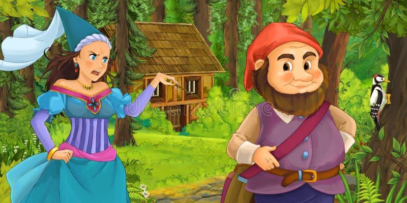 Karikaturszene mit jungem zwergartigem Prinzen, der Prinzessinzauberin und verstecktes Holzhaus im Wald reist und antrifft lizenzfreie abbildung