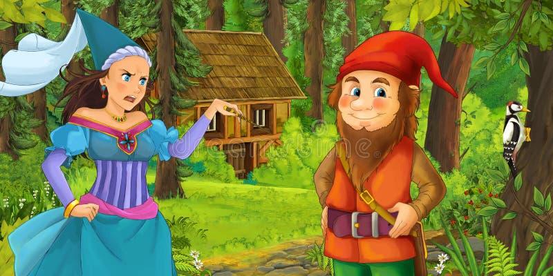 Karikaturszene mit jungem zwergartigem Prinzen, der Prinzessinzauberin und verstecktes Holzhaus im Wald reist und antrifft vektor abbildung