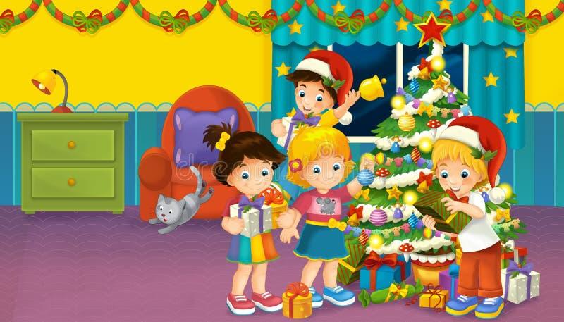 Karikaturszene mit Jungen und Mädchen in einem Raum voll von den Geschenken und vom Weihnachtsbaum stock abbildung