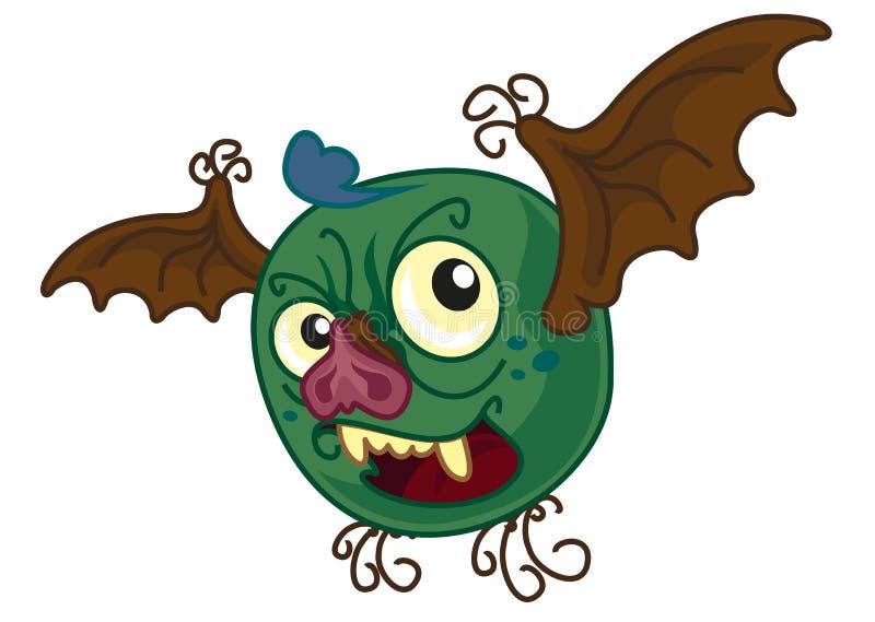 Karikaturszene mit kleinem Fliegenhalloween-Monster wie einem Schlägerfliegen und -c$lächeln - auf weißem Hintergrund vektor abbildung
