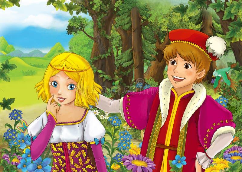 Karikaturszene mit nettem königlichem Prinzen und reizend manga Mädchen auf der Wiese stock abbildung