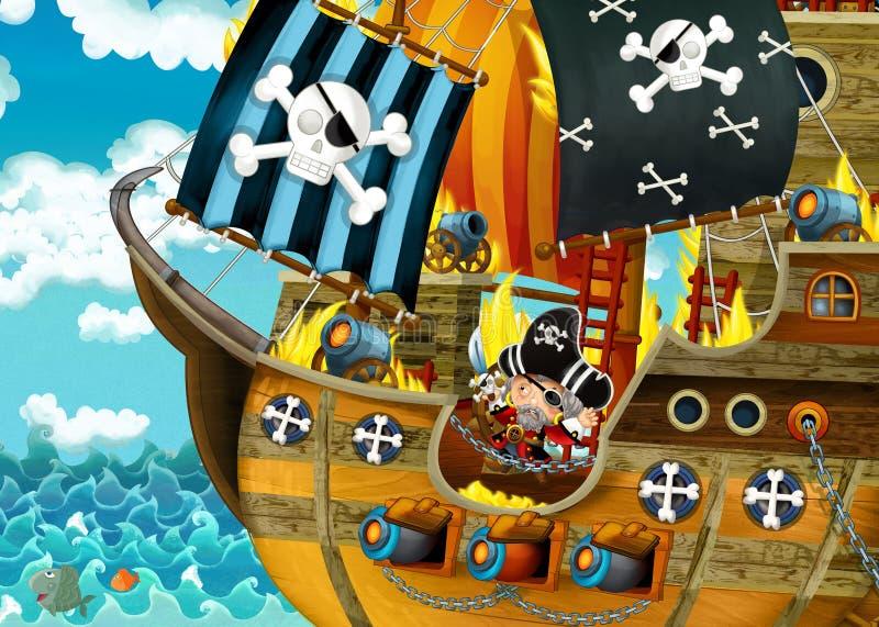 Karikaturszene mit Piratenschiffssegeln durch die Meere mit furchtsamen Piraten - Plattform brennt w?hrend des Kampfes lizenzfreie abbildung