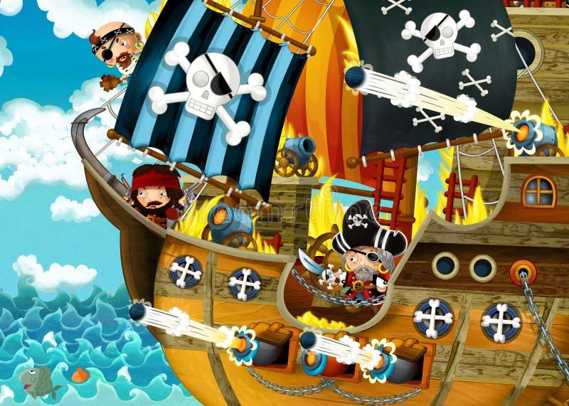 Karikaturszene mit Piratenschiffssegeln durch die Meere mit furchtsamen Piraten - Plattform brennt w?hrend des Kampfes stock abbildung