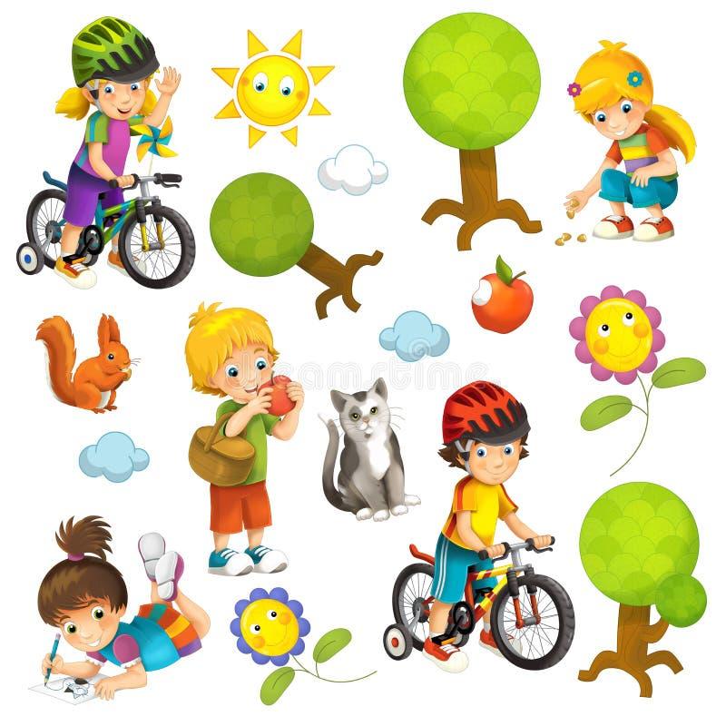 Karikaturszene mit Satz verschiedenen Elementen Leute und Sommertätigkeit stock abbildung