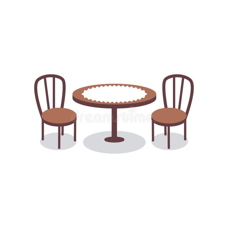 Karikaturtabelle bedeckt mit weißem Stoff für zwei Leute- und Holzstuhlikonen Möbel für Esszimmer oder Café vektor abbildung