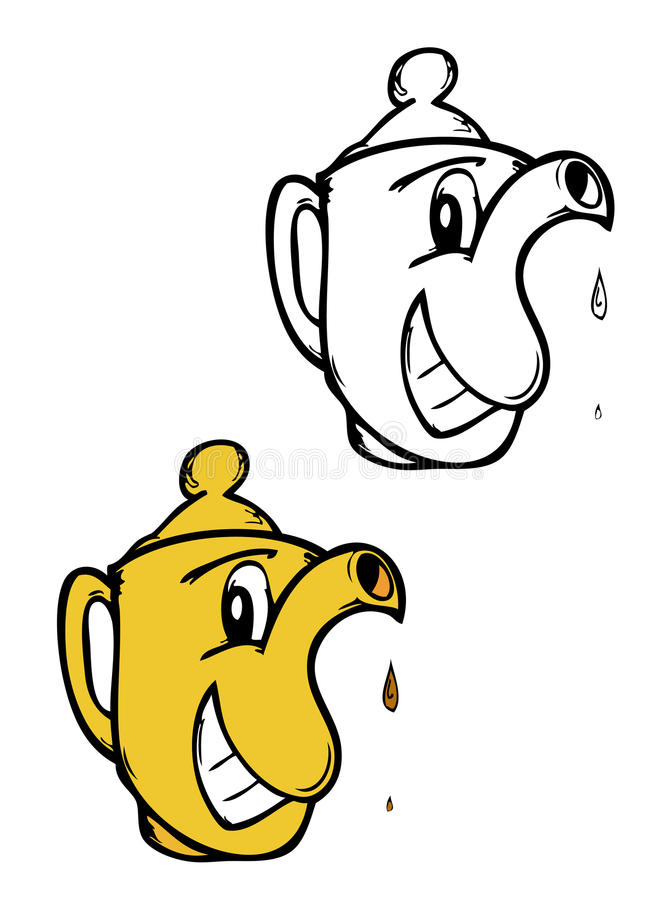 Karikaturteekanne stock abbildung