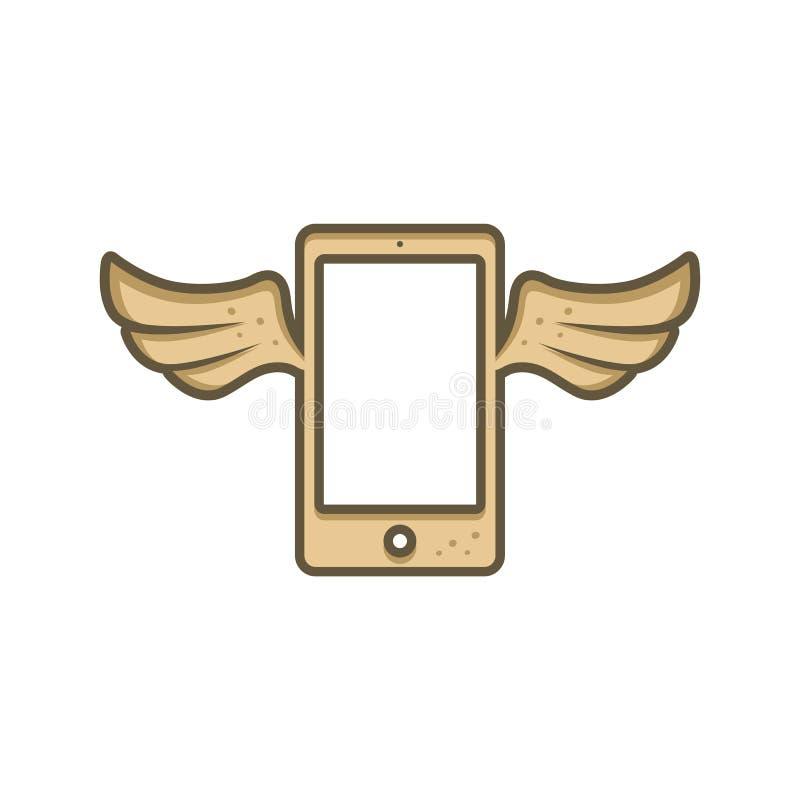 Karikaturthema-Braunhandy mit Engelsvogelflügel vektor abbildung