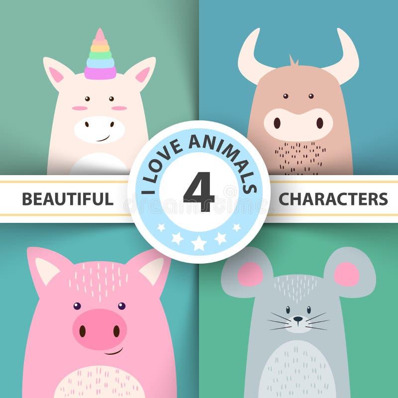 Karikaturtiercharaktere Einhorn, Stier, Schwein, Maus stock abbildung