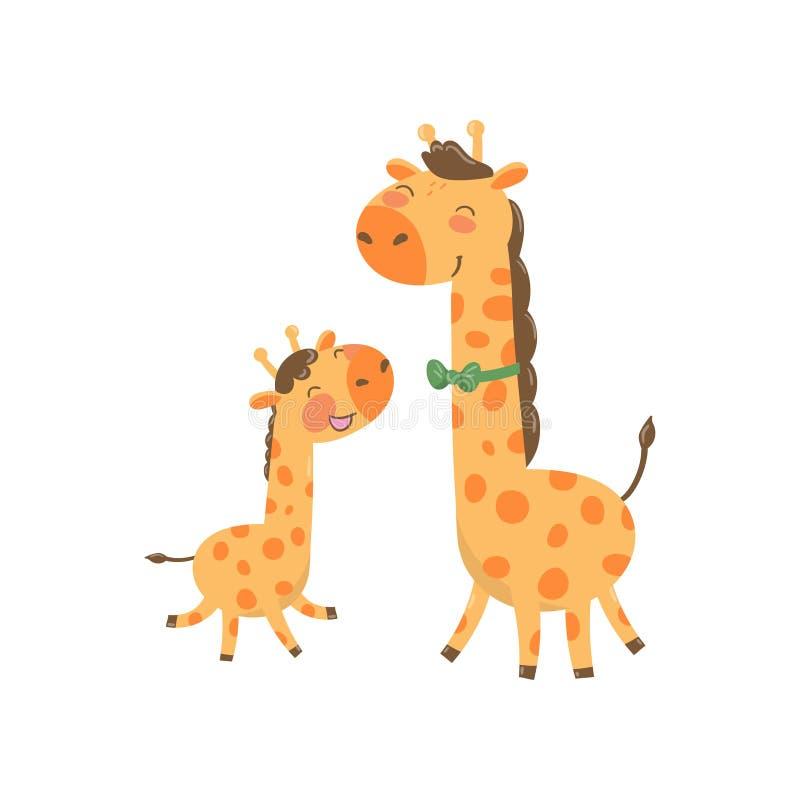 Karikaturtierfamilienporträt Bringen Sie Giraffe mit grüner Fliege und seinem lustigen Baby hervor Glückliches Elternteil und Kin lizenzfreie abbildung
