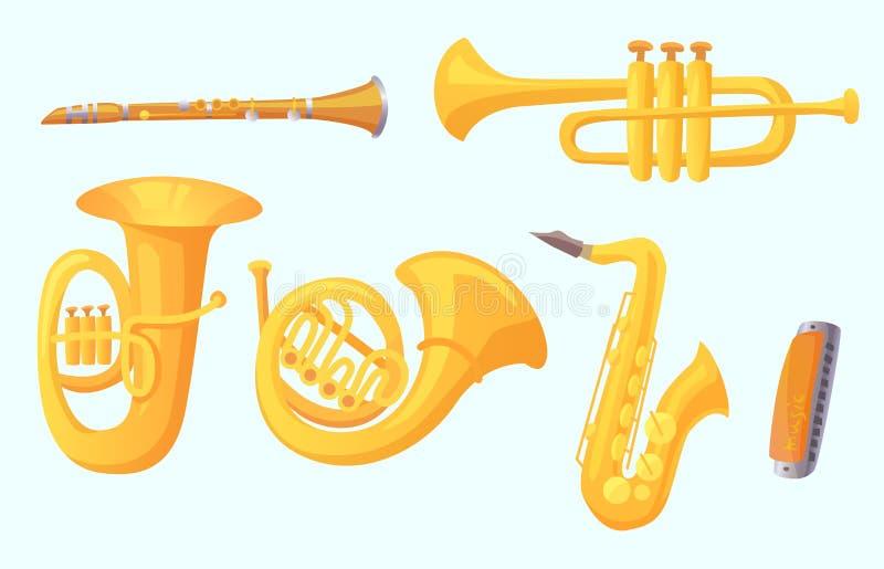 Karikaturtrompete Musikinstrumente der Winde Musikinstrument-Vektorsammlung lizenzfreie abbildung