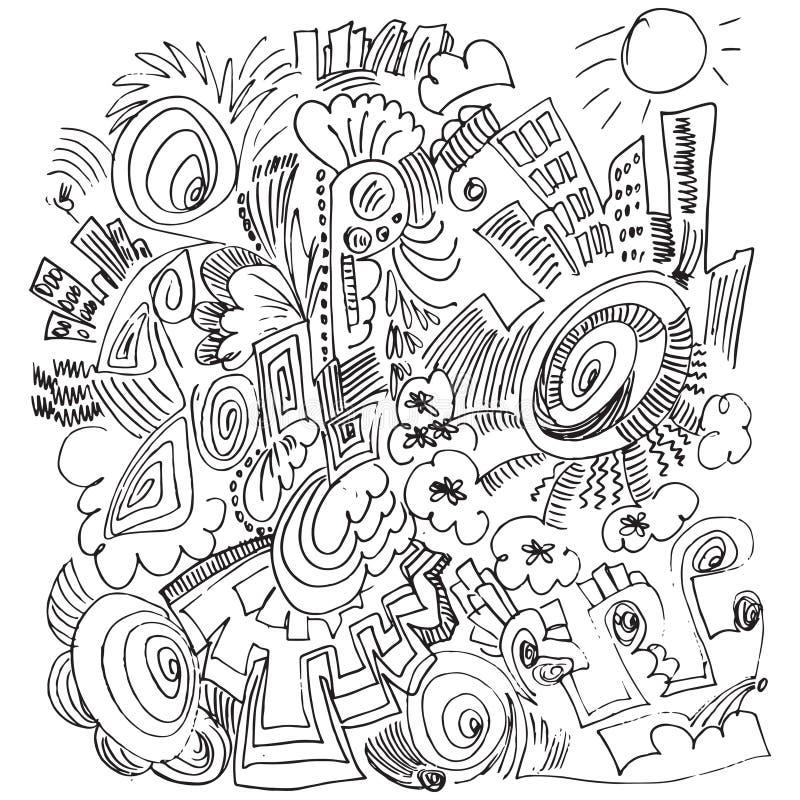 Karikaturvektor kritzelt Hand gezeichnete Häuser lizenzfreie abbildung