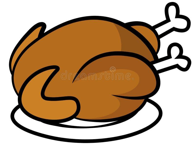 Huhn oder Truthahn auf Platte stock abbildung
