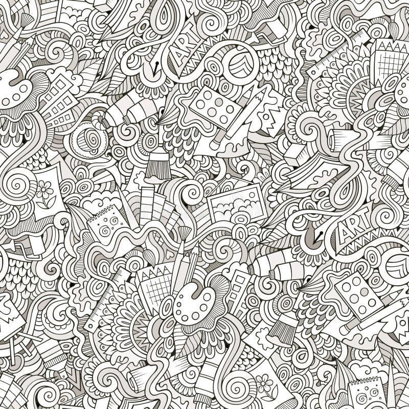 Karikaturvektorkunst und nahtloses Muster des Handwerks vektor abbildung