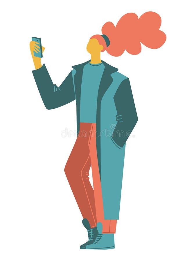 Karikaturvektorleute eine Frau, die Fotos, selfie, einen langen übergroßen Mantel tragend macht lokalisierte zufällige Leutevekto stock abbildung